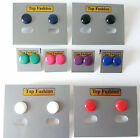 SMALL sized 100% plastic button style stud earrings ReTrO 12mm, 8 colour options
