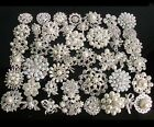 Wedding Silver Gold Plated Cream Faux Pearl Rhinestone Crystals Flower Brooches
