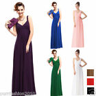 Sexy Crystal-like Beads Empire Line Formal Evening Long Bridesmaid Dress UK 6-18