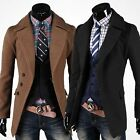 Vintage Mens Trench Wool Woolen Coat Winter Long Jacket Single Breasted Overcoat