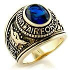 SIMULATED SAPPHIRE MENS US AIRFORCE MILITARY RING SIZE 8 9 10 11 12 13