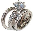 3 Piece Wedding Engagement Wedding Ring Set Solid 925 Sterling Silver