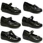 GIRLS SCHOOL SHOES INFANTS BLACK SMART FORMAL PARTY EVENING BACK TO SCHOOL SIZE