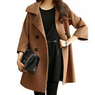 Luxury Women's Loose Trench Double Breasted 3/4 Sleeve Winter Coat Jacket Solids