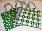 Handmade Snowman Green Christmas Fabric Mini Tote / Gift Bags