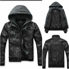 NEW ARRIVAL Mens Premium Design thick warm hooded PU Leather Rider Jacket