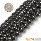 "Natural Black Hematite Round Beads For Jewelry Making Strand 15"" 4mm 6mm 8mm 10m"