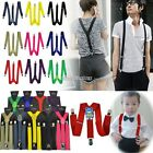 Unisex Men Women Kid Clip-on Braces Elastic Y-back Suspenders Adjustable Elastic