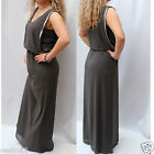 New Next Grey Drape Embellished Side Maxi Dress Christmas Party Evening Cocktail