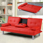 Modern Faux Leather 3 Seater Sofa Bed & Bluetooth Speaker Option Various Colours