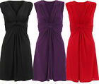 New Womens Plus Size Twisted Ruched Drape Knot Knee Length Tie Back Dress