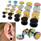 Stainless Steel 2x Fake Cheater Ear Plugs Gauge Illusion Body Jewelry Pierceing