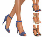 WOMENS STRAPPY GLITTER PEEP TOE STILETTO HIGH HEEL ANKLE PARTY SANDAL SHOE SIZE