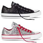 NEW CONVERSE CHUCK TAYLOR ALL STAR BLING BLACK SILVER LOW WOMEN WINTER SHOES
