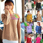 Womens Chunky Cable Knitted Crew Neck Long Sleeve Tops Jumper Knitwear Sweater C