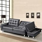 Cheap Faux Leather 3 Seater Sofa Bed Storage Ottoman Brown Black White New