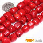 "Red Coral Gemstone Freeform Column Beads For Jewelry Making Strand 15"" Yao-Bye"
