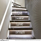 Live Love Dream Stairs Vinyl Decal Stickers Quote Staircase Decoration ST1105