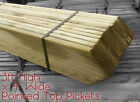 """3FT HIGH POINTED TOP PICKETS 4"""" WIDE - WOODEN GARDEN PICKET FENCE PALES"""