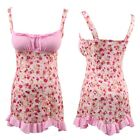 Pink Floral Lingerie Babydoll Chemise Dress Nighty Sleepwear Plus Size S M L XL