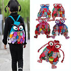 Children Kids Owl Ethnic Colorful Stitch Backpack Book Bag Schoolbag Preschool
