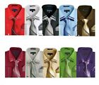 Men's French Cuff Dress Shirt with Matching Tie and Handkerchief MS28