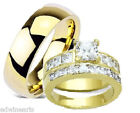 His and Hers Wedding Rings Yellow Gold Plated Stainless & Titianium Set