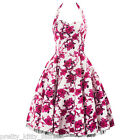 PRETTY KITTY Weiß Pink Blumenmuster Ball Abend Vintage Rockabilly Swing Kleid