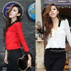 Hot Women's Fashion Lace Long Sleeve Button Chiffon Splicing T-shirt Blouse Tops