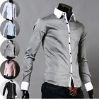 Trendy PJ Mens Designer Long Sleeve Casual Dress Shirt Slim Tops Shirt Size S~XL