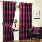 BARGAIN RASPBERRY & PURPLE EYELET RING TOP CURTAINS.SAVE 30%.NEXT DAY DELIVERY
