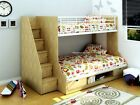 3ft & 4ft Double Triple Sleeper Bunk Bed With Storage - Beech & White Or Oak