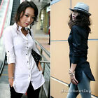 Fashion Women Lady Half Sleeve Solid Button Slim Casual Long Tops Shirt Blouse S