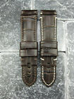 24mm Charcoal Brown Deployment Strap Alligator Grain Leather Band Fit PANERAI X1