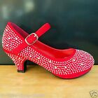 Red Pageant Crowning Flower Girls Dress Dance Shoes Youth Size 3,4