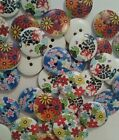 10 Round Wooden Vintage Style Flower Print Buttons 20mm (Various Styles)