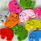 5/20/100 pcs wood flatback/Button lot mixed colors elephants craft embellishment