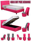Girls Hot Funky Pink Bedroom Furniture Ottoman Storage Diamond Beds Shoe Chairs