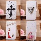 3D bling flash diamond flip leather wallet card slot case cover fold for htc