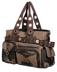 Banned Intrepid Shoulder Bag Handbag Black Brown Stripe Copper Key VTG Steampunk