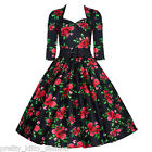PRETTY KITTY VINTAGE ROCKABILLY TEA FLORAL SWING PROM DRESS 8-22 FREE UK POST