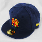 New Era 59fifty NY Yankees Canvas Wash Blue Fitted Flat Peak 5950 Hat Cap