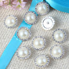10 Pcs Charming Rhinestone Pearl Silver Tone Shank Round Button Sewing Craft New