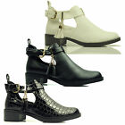 WOMENS LADIES ANKLE LOW HEEL CHELSEA CUT OUT GOLD BUCKLE TASSEL SHOES BOOTS SIZE