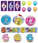 6th Birthday AGE 6 - Large Range of CAKE CANDLES & Party BANNERS - Plastic/Foil