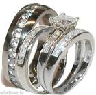 His & Her 4 Piece Wedding Ring Set 925 Sterling Silver Rhodium Finish
