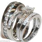 His and Hers Wedding Rings 4 Pc Sterling Silver & Stainless Cz Wedding Ring Set