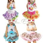 2pcs Baby Girls Top + Tutu Dress Skirt Pettiskirt Party Birthday Costume Outfits