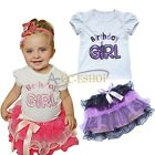 Baby Party Outfit Birthday Girl Top T-Shirt Tutu Skirt Pettiskirt Dress 2pc Set