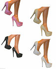 LADIES GLITTER CONCEALED PLATFORM STILETTO EXTREME HIGH HEELS COURT SHOES SIZE